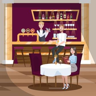 Bar ou café com as bebidas alcoólicas.