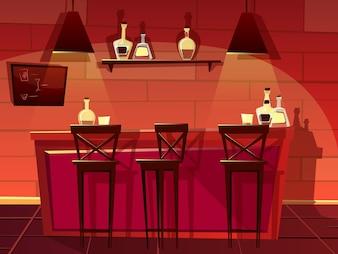 Bar ou pub contador ilustração. Desenhos animados plana frente interior do bar de cerveja com cadeiras
