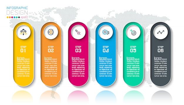 Bar rótulos infográfico com 6 passos.
