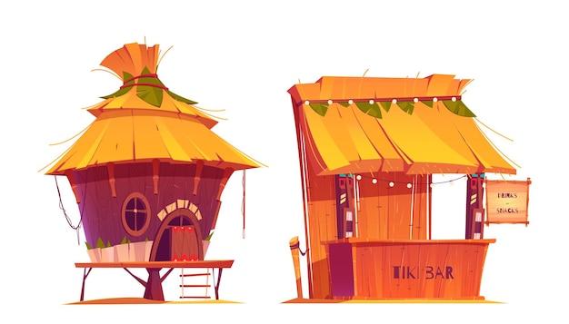Bar tiki hut, construção de madeira na praia do havaí com telhado de feno e menu de bambu