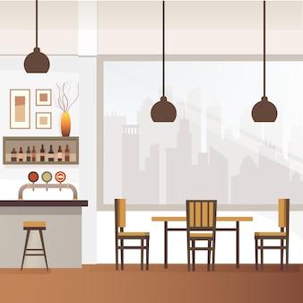 Bar vazio ou pub interior ilustração vetorial plana