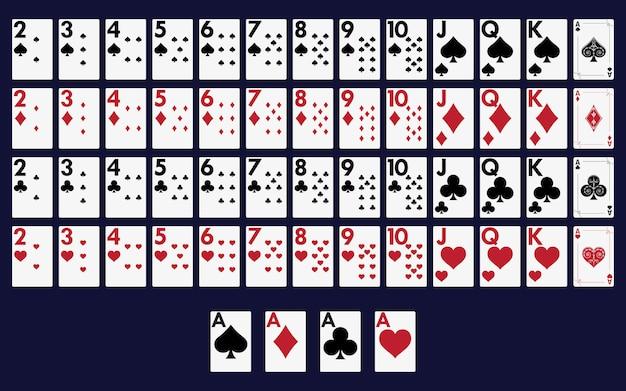 Baralho cheio de cartas para jogar poker e casino.