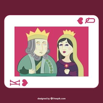 Baralho de cartas com rei e rainha