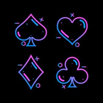 Baralho de cartas de símbolos coloridos