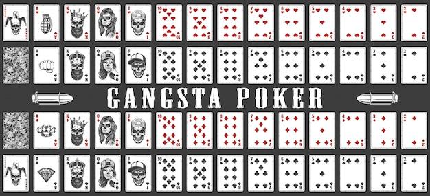 Baralho de gangsta jogando cartas