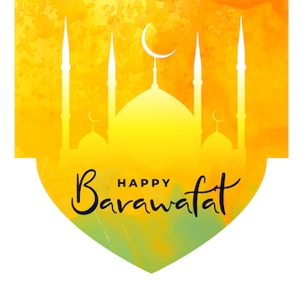 Barawafat feliz festival brilhante cartão