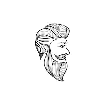 Barba, corte de cabelo, ilustração, mão, desenhado