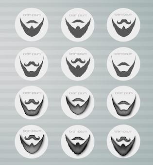 Barba de ícones redondos com bigode.
