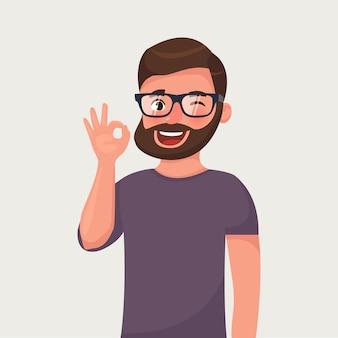 Barba, homem, em, óculos, mostra, gesto, ok