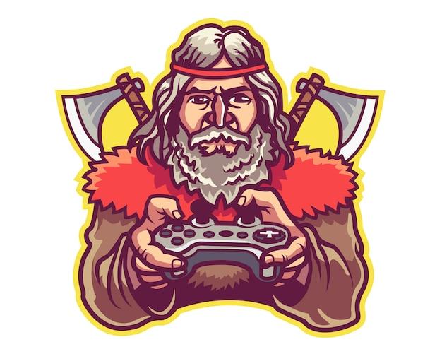 Bárbaro e esporte jogo equipe logotipo mascote distintivo