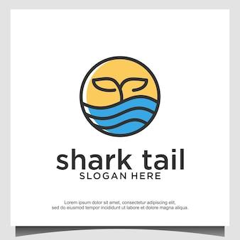 Barbatana de tubarão com ilustração de design de logotipo de onda