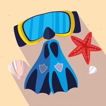 Barbatanas de snorkel e máscara