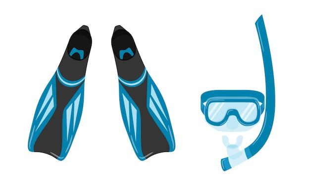 Barbatanas e máscara com snorkel para mergulho com snorkel e com cilindro.
