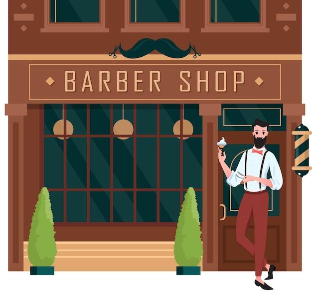 Barbearia aberta. rua dos desenhos animados construindo fachada marrom de barbearia retrô com pé na porta de entrada homem barbeiro cabeleireiro, pequena empresa na cidade, salão de corte de cabelo