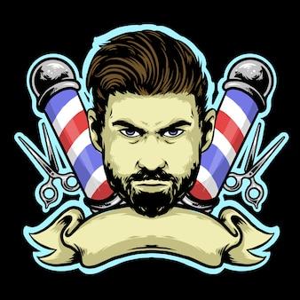 Barbearia cavalheiro com penteado cortado