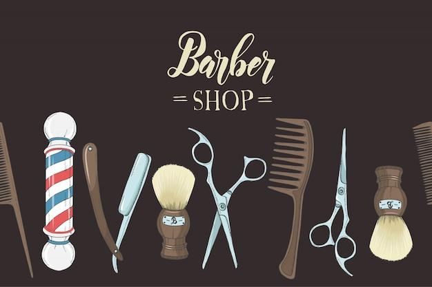 Barbearia com mão desenhada navalha, tesoura, pincel de barba, pente, barbearia clássica pólo em preto.