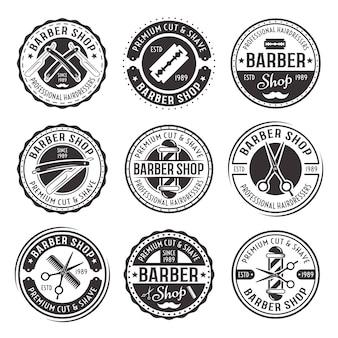 Barbearia com nove emblemas redondos vintage pretos de vetor