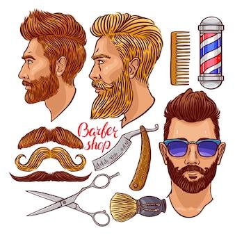 Barbearia. conjunto de acessórios de cabeleireiro coloridos e homens barbudos. ilustração desenhada à mão