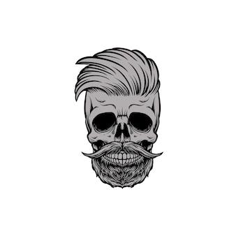 Barbearia de cabeça de caveira com bigode e barba