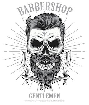 Barbearia de caveira com barba