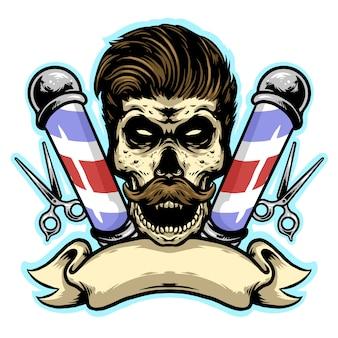 Barbearia de caveira com corte e banner mascote de design de logotipo