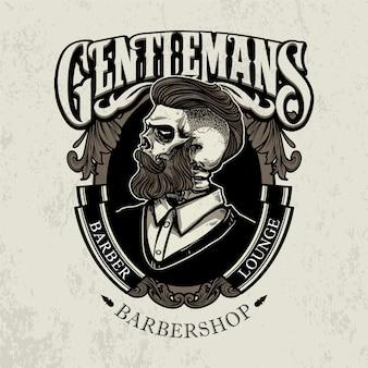 Barbearia de caveira vintage