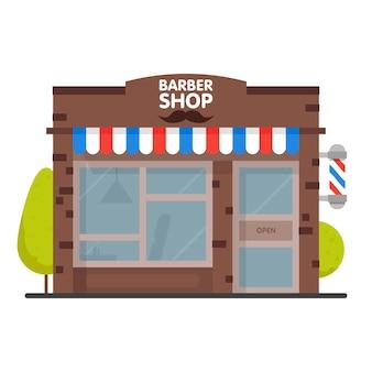 Barbearia de fachada de edifício de rua. loja frontal para banner ou brochura. ilustração.