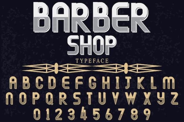 Barbearia de tipografia de fonte vintage