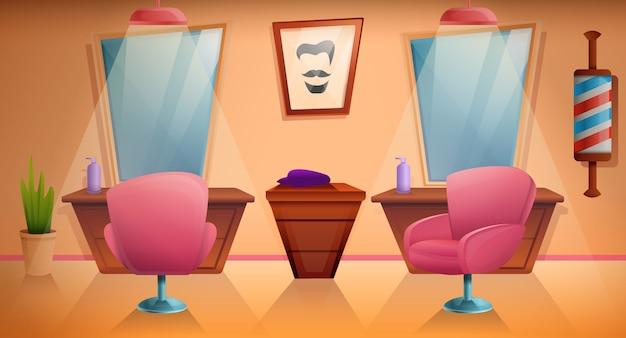 Barbearia dos desenhos animados com móveis e equipamentos, ilustração