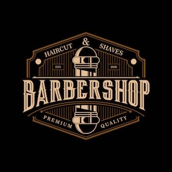 Barbearia elegante e luxo logotipo design vintage modelo premium