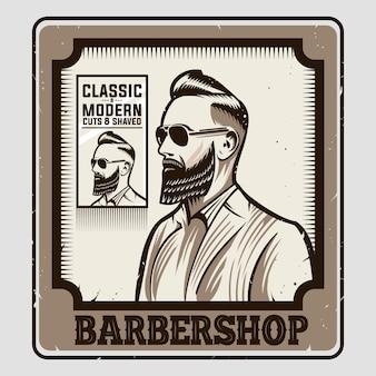Barbearia emblema vintage cartaz design ilustração