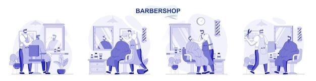 Barbearia isolada definida em design plano pessoas cortam o cabelo ou fazem a barba cabeleireiro