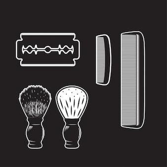 Barbearia item vintage isolado alta detalhadas