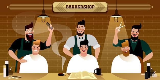 Barbearia masculina, ilustração de vida urbana hipster.