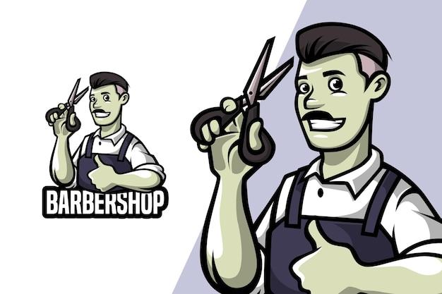 Barbearia - modelo de logotipo de mascote