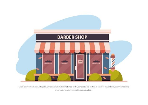 Barbearia moderna loja vazia sem pessoas cidade edifício fachada vista frontal barbearia conceito cópia horizontal espaço ilustração vetorial