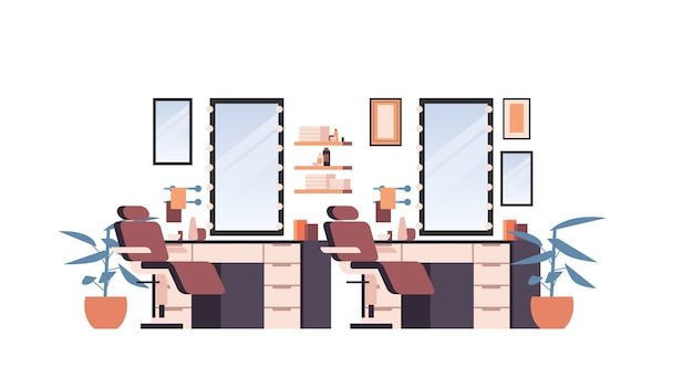 Barbearia moderna vazia sem pessoas ilustração vetorial horizontal isolada interior do salão de beleza