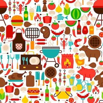 Barbecue flat seamless pattern. ilustração em vetor de fundo tileable. bbq party.