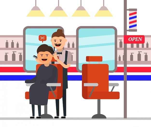 Barbeiro à milanesa fazendo corte de cabelo do cliente masculino na barbearia