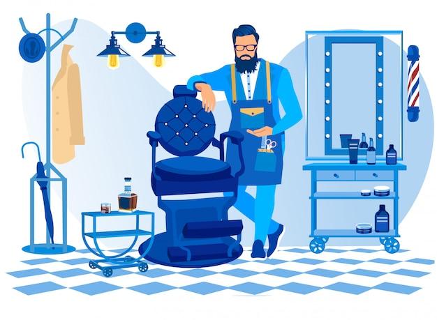 Barbeiro barbudo vestindo avental com ferramentas de corte de cabelo