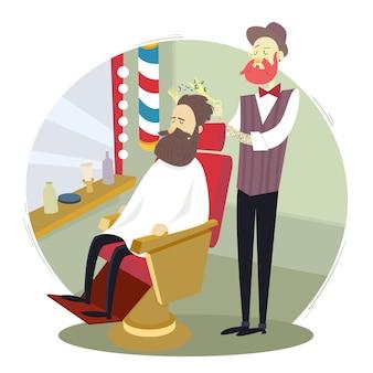 Barbeiro, dar, um, corte cabelo, para, um, homem, em, um, barbearia