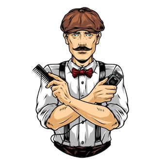 Barbeiro de bigode com chapéu irlandês com pente e máquina de cortar cabelo em ilustração vetorial isolada de estilo vintage