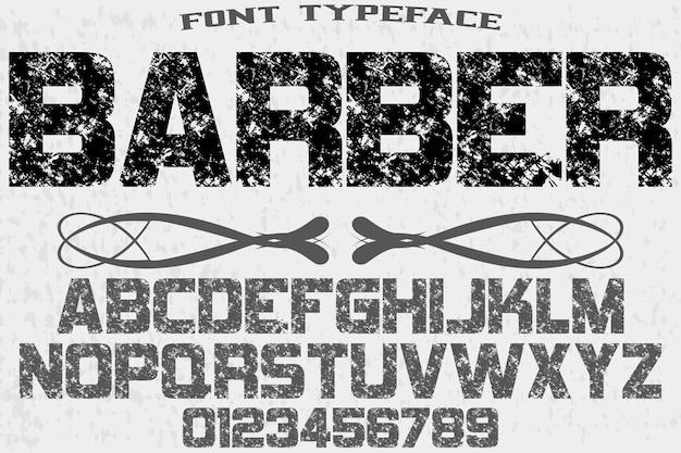 Barbeiro de design de rótulo de tipografia