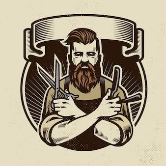 Barbeiro de design retro com tesoura