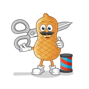 Barbeiro de personagem de desenho animado de amendoim