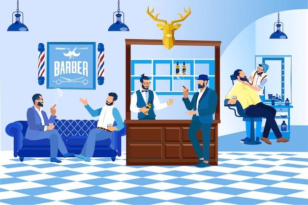 Barbeiro fazendo cliente corte de cabelo na barbearia, moda
