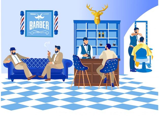 Barbeiro, fazendo, corte cabelo cliente, em, barbearia, moda