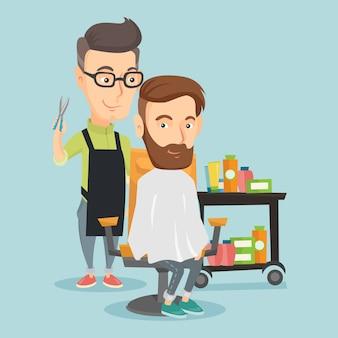 Barbeiro fazendo o corte de cabelo para jovem.