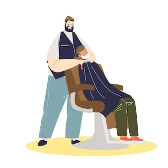 Barbeiro hipster fazendo a barba de clientes em ilustração de espuma