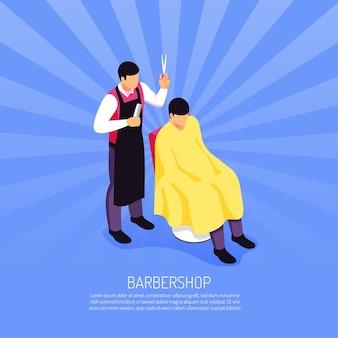 Barbeiro masculino com ferramentas profissionais durante o atendimento ao cliente